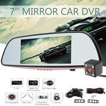 Kroak 7 »1080 P HD Видеорегистраторы для автомобилей зеркало Камера видео Регистраторы заднего вида Камера Двойной объектив Сенсорный экран