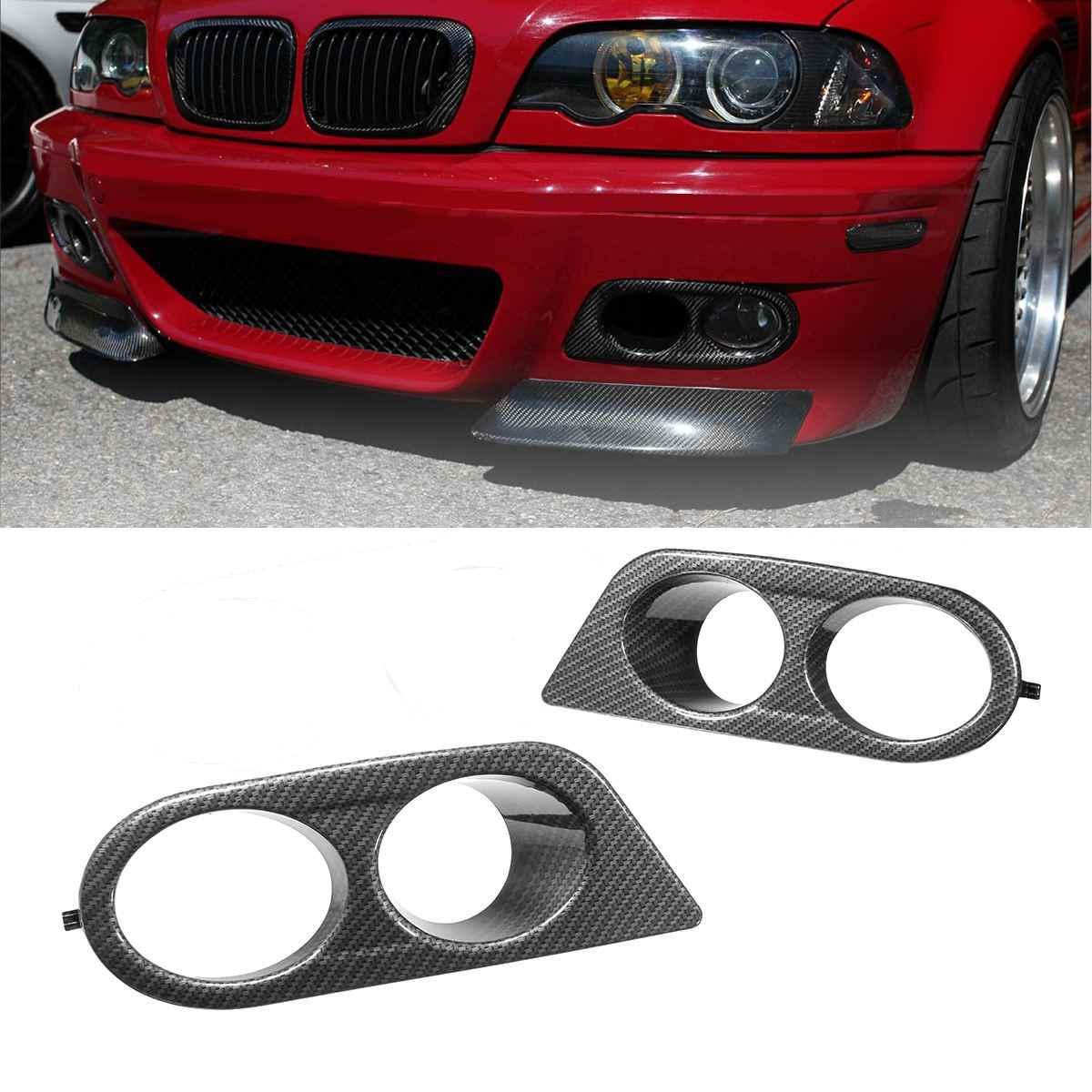 Pair Car Fog Light Covers Surround Air Duct For Bmw E46 M3