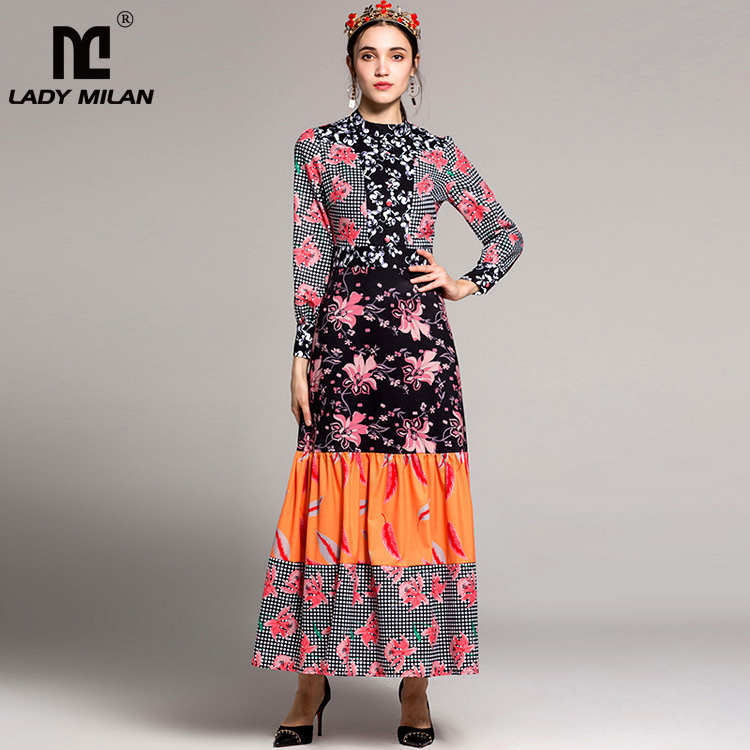 New Arrival 2018 Womens Stand Collar Long Sleeves Floral Dots Printed Tiered Ruffles Designer Dresses Fashion Long Dresses