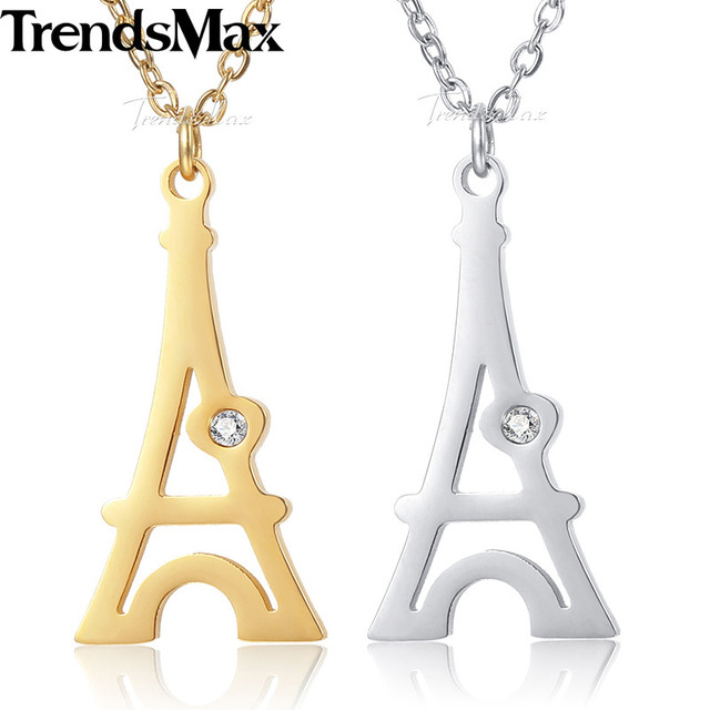 Trendsmax eiffel tower pendant necklace ladies womens chain trendsmax eiffel tower pendant necklace ladies womens chain stainless steel rolo link gold silver kknm149 aloadofball Images
