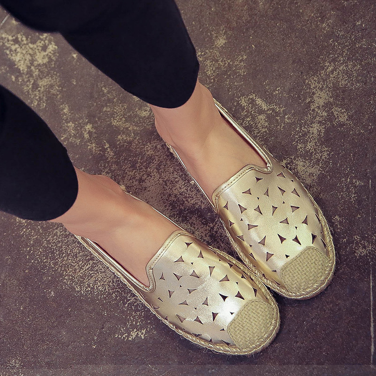 Spring Autumn Slip on women Slipony Female hollow shoes fretwork lady loafers woman bling flats Footwear gold Silver breathable lanshulan bling glitters slippers 2017 summer flip flops platform shoes woman creepers slip on flats casual wedges gold