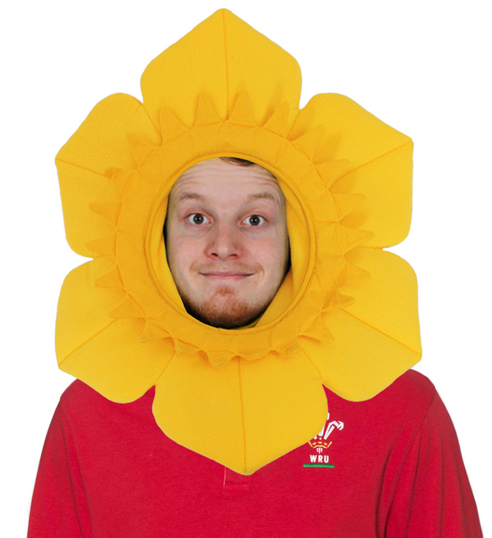 NEW ST DAVIDS WELSH WALES DAFFODIL HAT FOR ADULT MAN MEN FANCY DRESS RUGBY FOOTBALL GAME CYMRU YELLOW