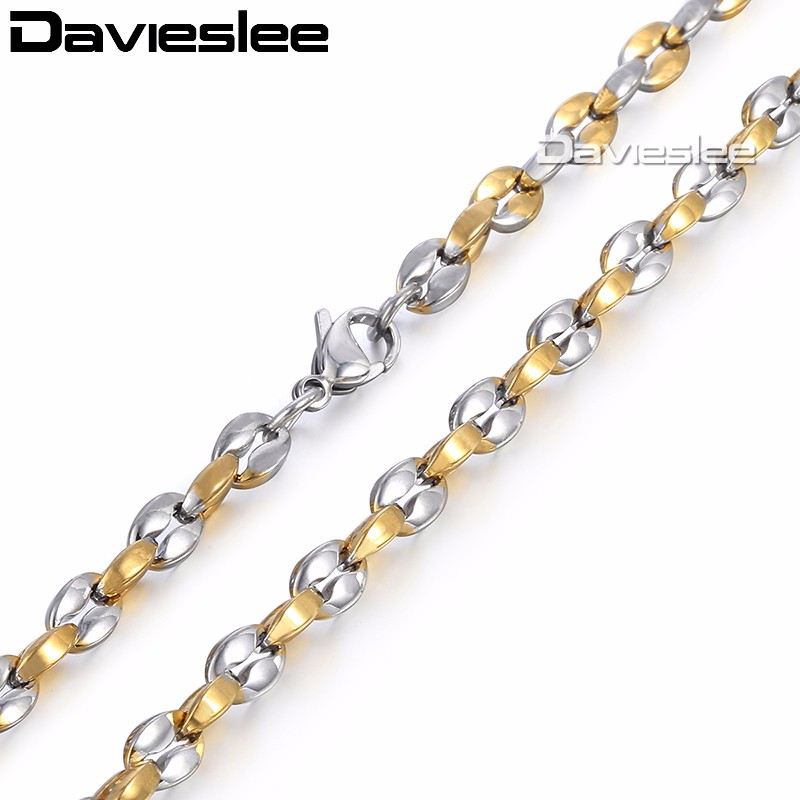 Davieslee Boys Mens Chain Mariner Link Necklace Stainless Steel Coffee Bead Gold Silver Tone 5mm LKN499
