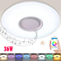 LED Music Ceiling Light with Bluetooth Speaker 36W Dimmable Drop Ceiling Lights RGB Home Party Light with APP Remote Control