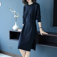 England Style Knitted Dress Autumn And Winter Women's Thick 2018 New Knee Length O Neck Women Dress