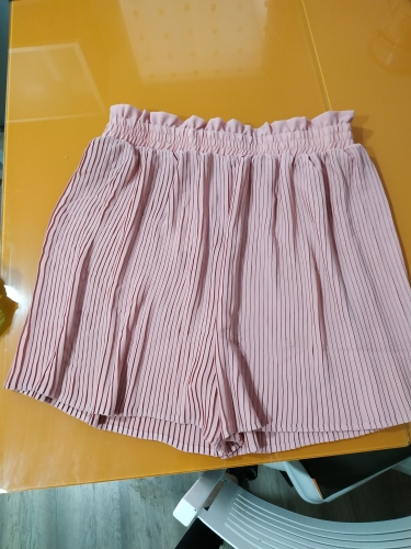 Vintage Chic Solid Pleated Shorts Women Fashion High Elastic Waist Ruffled Ladies  Short Pants Casual Pantalones Cortos photo review