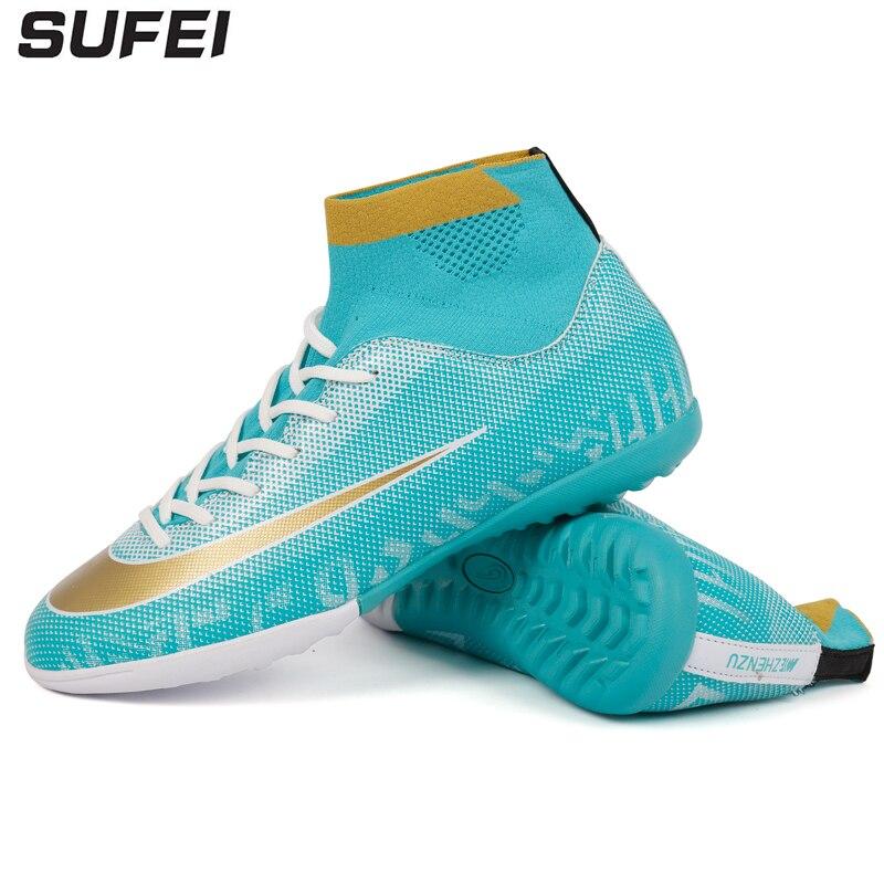 8cbac629 Sufei для мужчин высокие ботильоны футбол сапоги и ботинки для девочек  великолепные футбольные обувь TF Turf дети Крытый футзаль обучение спорти