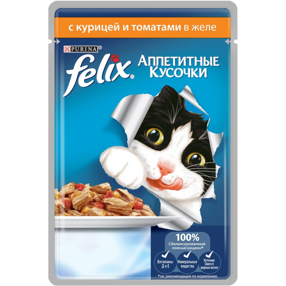 Wet food Felix Appetizing Pieces for cats with chicken and tomatoes, Pouch, 24x85 g. цена и фото