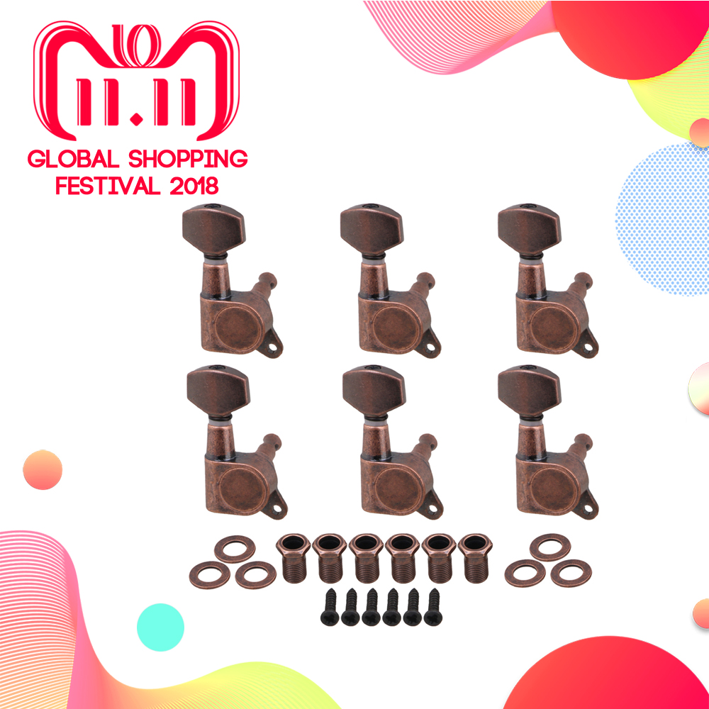 Yibuy 4x3.7cm Bronze Electric Guitar Full Closed Tuning Pegs Tuners Right Hand Machine Heads Guitar Accessories Parts Pack of 6 цена