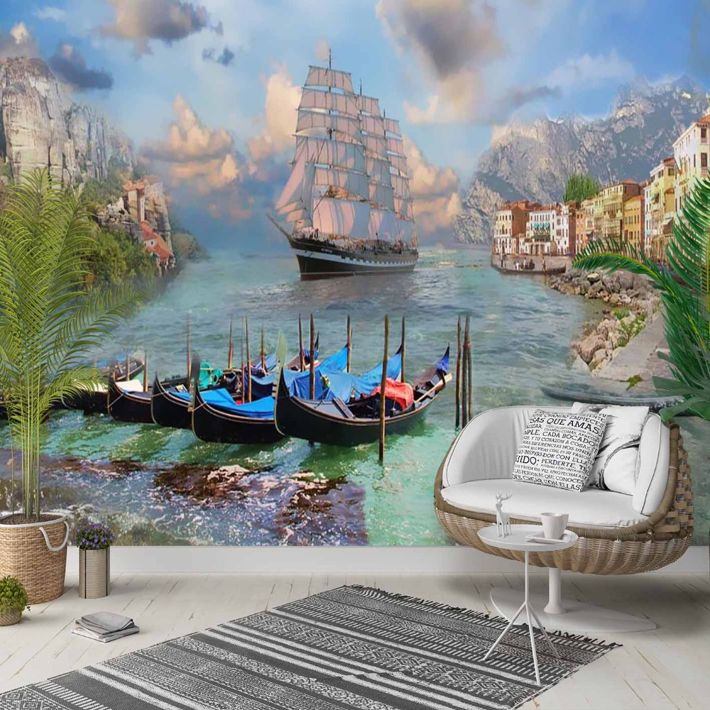 Else Blue Sea Side Ships Floral Nature 3d Print Photo Cleanable Fabric Mural Home Decor Living Room Bedroom Background Wallpaper