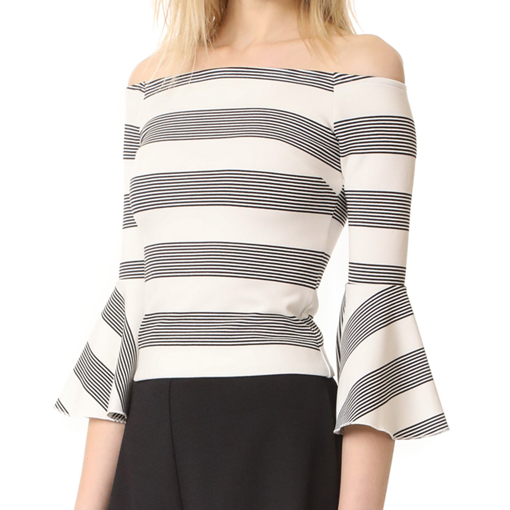 Women Summer Casual Tops  Contrast Striped Off The Shoulder Bow Tie  Length Sleeve Blouse W3070
