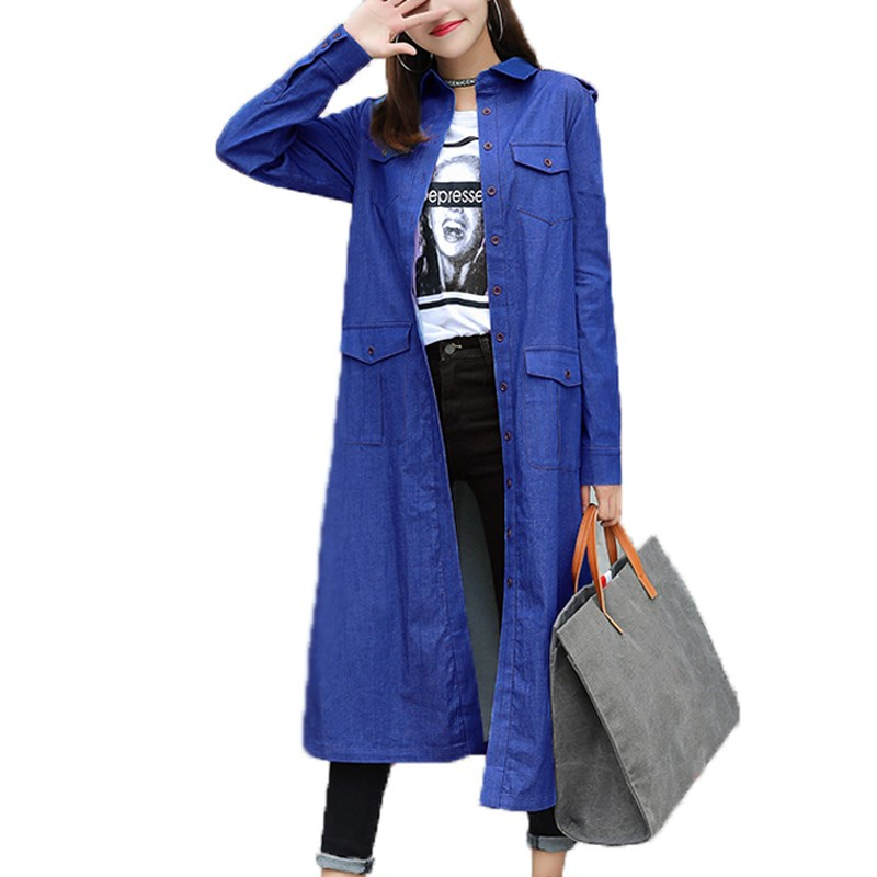 ZANZEA Women Fashion Turn-down Collar Denim Jeans Baggy Tops Blusas Winter Autumn Long Sleeve Casual Loose Coat Jacket Kaftan