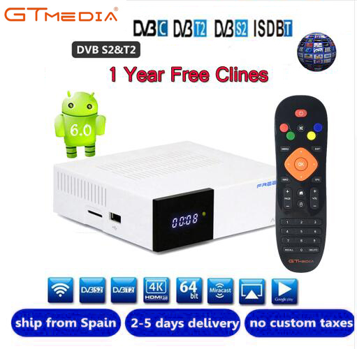 Freesat GTC декодер DVB-S2 DVB-C DVB-T2 Amlogic S905D android 6,0 tv box 2 ГБ 16 ГБ + 1 год cccam спутниковый ТВ приемник tv box set
