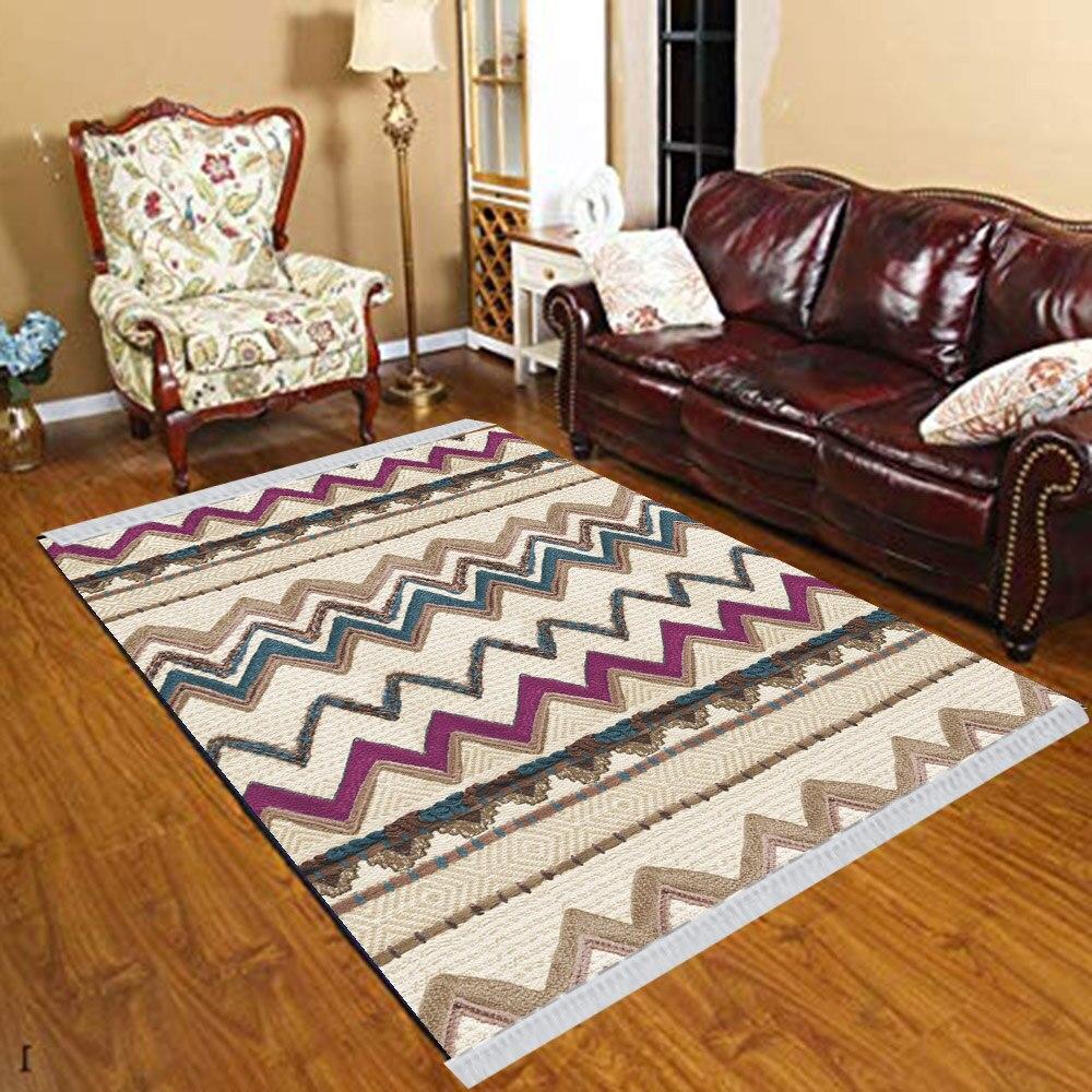 Else Purple Brown Blue Verev Lines Turkish Vintage 3d Print Anti Slip Kilim Washable Decorative Kilim Tassel Rug Bohemian Carpet