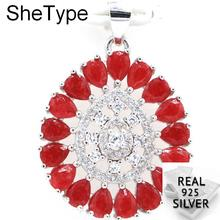 3.38g Deluxe Pearl Shape Real Red Ruby Golden Citrine Natural Cubic Zirconia Ladies 925 Solid Sterling Silver Pendant 29x20mm