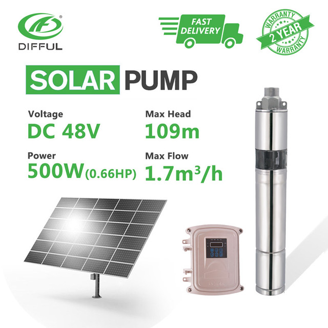 """3"""" DC Screw Deep Well Solar Water Pump Kits 48V 500W MPPT Controller Bore Irrigation Submersible (Max Head 109m, Flow 1.7T/H)"""
