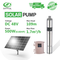 3 DC Screw Deep Well Solar Water Pump Kits 48V 500W MPPT Controller Bore Irrigation Submersible (Max Head 109m, Flow 1.7T/H)