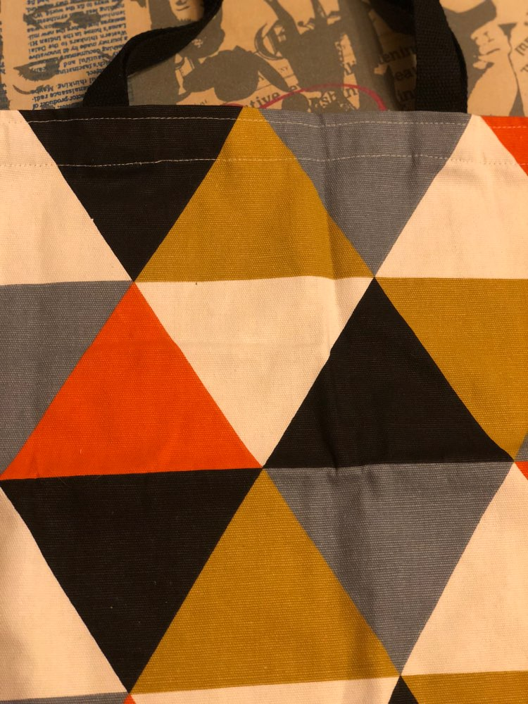 YILE Cotton Canvas Eco Shopping Tote Shoulder Bag Geometry Orange Triangle 720c photo review