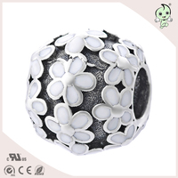 Real 925 Silver Black Acrylic Flower Charms Fashion Jewelry DIY Making Beads Fit Snake Bracelet Antique
