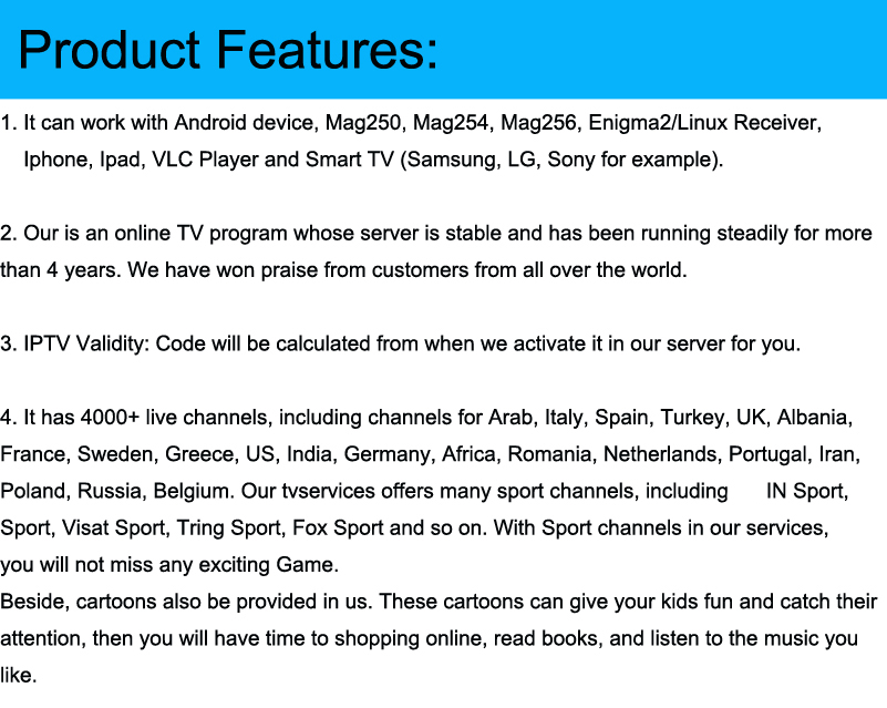 WORLD IPTV Subscription arabic europe french italian polish albania uk  spanish sports iptv code M3U mag Adult free test xxx