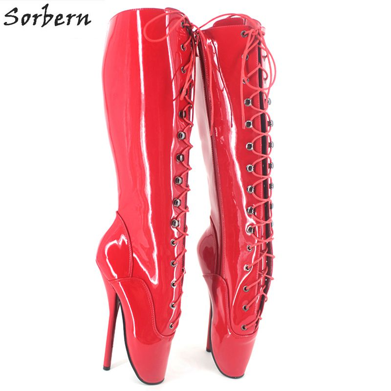 Sorbern Knee Length Women Boots 2018 Botines Mujer Unisex Party Boots Patent Leather Plus Size Fetish Ballet Heels Boots цена