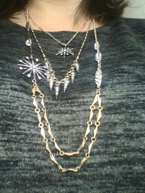 Detachable 3 Multi Layered Geometric Crystal Star Necklace - Antique Gold Color Chain Jn12*