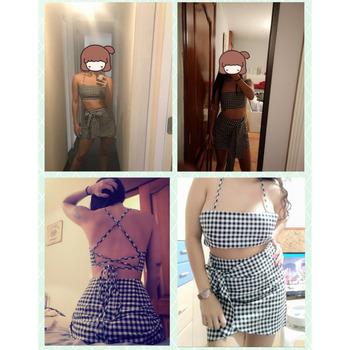 Fashion Women checkerboard 2 Piece Set Bodycon Skirt Crop Top off shoulder Tank Summer two piece set Bandge gingham Mini Skirt 6