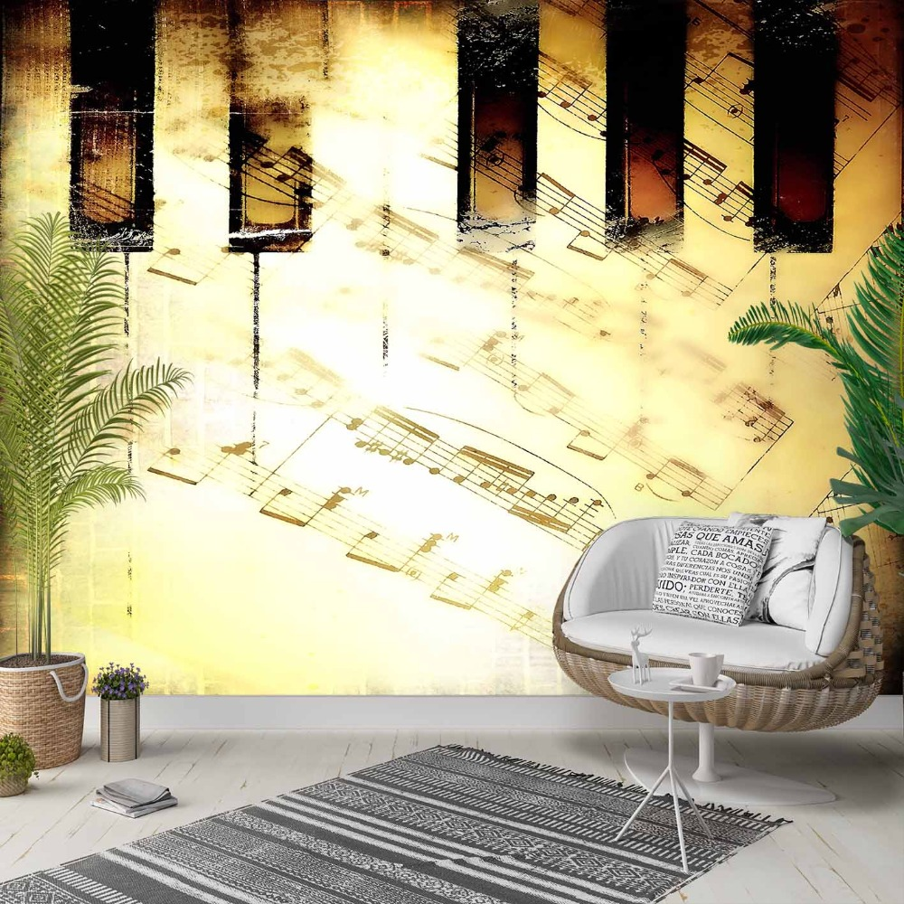 Else Yellow Black Piano Music Notes Vintage 3d Photo Cleanable Fabric Mural Home Decor Living Room Bedroom Background Wallpaper