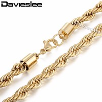 6mm Mens Chain Rope Link Gold Tone Stainless Steel Necklace High Quality Wholesale Gift Jewelery Jewellery Free Shipping LKN288