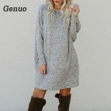 Genuo Casual Knitted Sweater Dress Solid Loose Autumn Winter Dress Women O Neck Long Sleeve Mini Sweater Dresses Pocket Vestidos цены