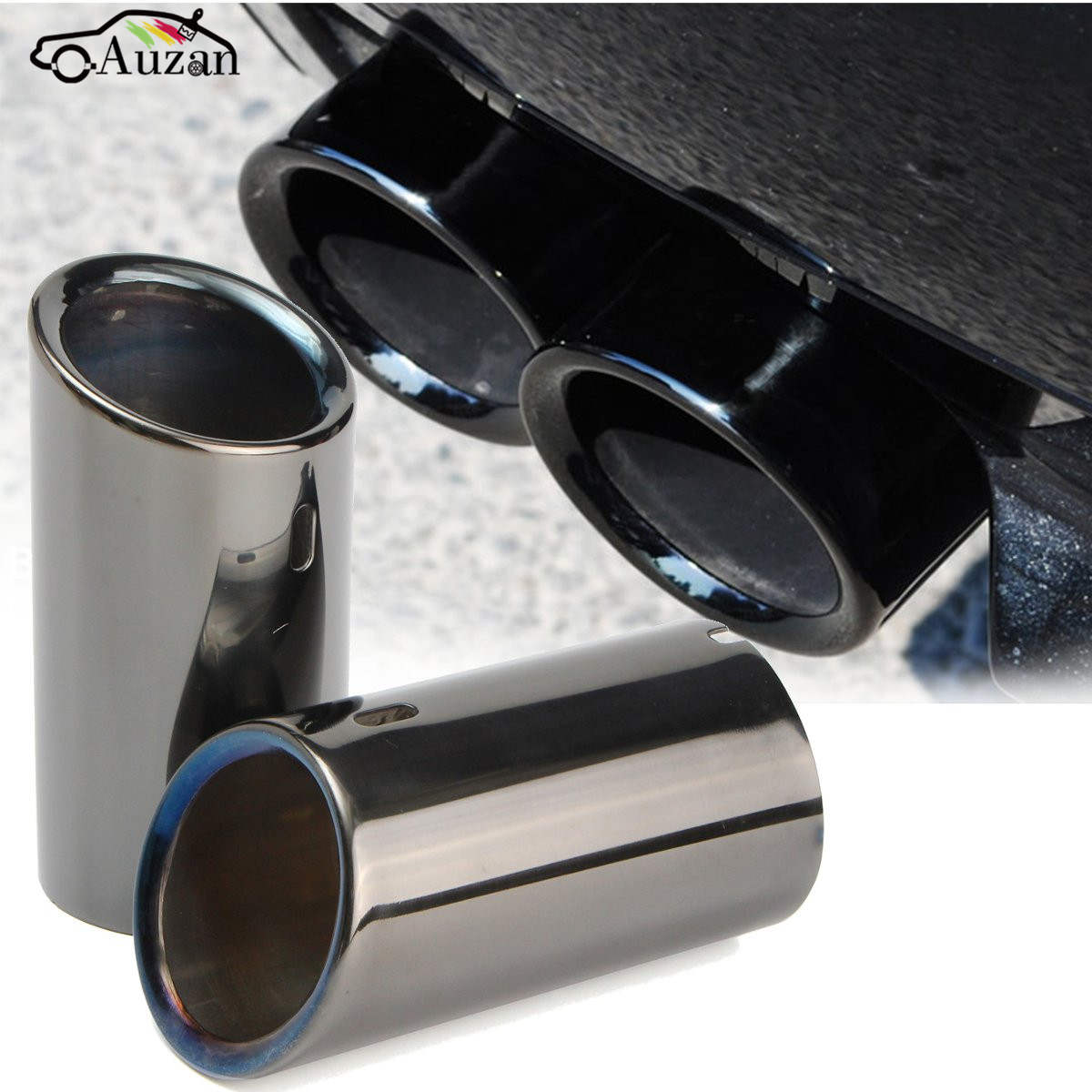 Pair Car Tail Exhaust Tip Pipes Titanium Black For BMW E90 E92 325 328i 3 Series 2006 - 2010 Stainless Steel