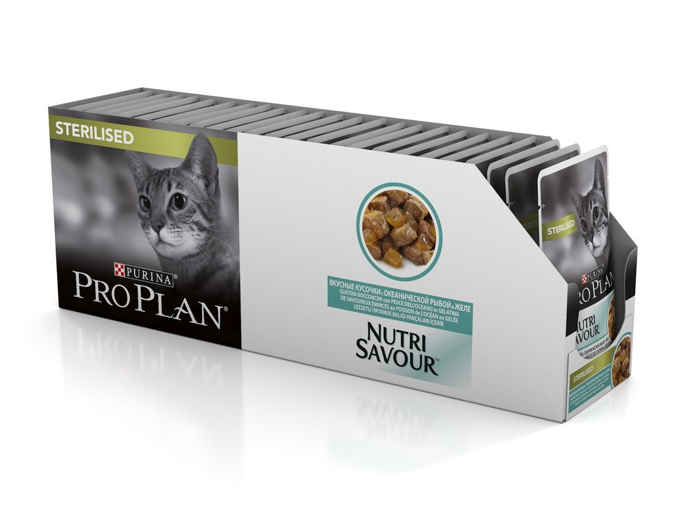Cat wet food Pro Plan Nutrisavour Sterilized pouches for sterilized cats and cats, Fish (pieces in jelly, 24*85 g) wet pro plan feed for adult cats with lamb in jelly 85 g x 24 pcs