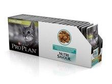 Pro Plan Nutrisavour Sterilised пауч для стерилизованных кошек и котов с океанической рыбой (кусочки в желе, 24*85 г)