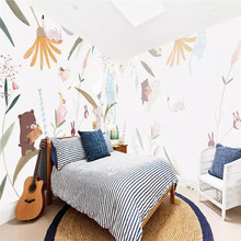 Hand-painted cartoon animal grove background wall professional production mural wholesale wallpaper custom photo