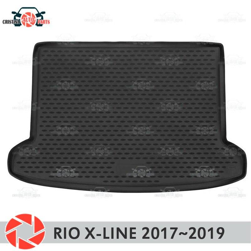 Mat tronco para Kia Rio-Line X 2017 ~ 2019 trunk piso tapetes antiderrapante poliuretano proteção sujeira interior mala do carro styling