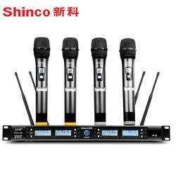 Shinco H85 jeden przeciągnij cztery mikrofon bezprzewodowy profesjonalny etap wydajność KTV singing mikrofon konferencyjny w Mikrofony od Elektronika użytkowa na