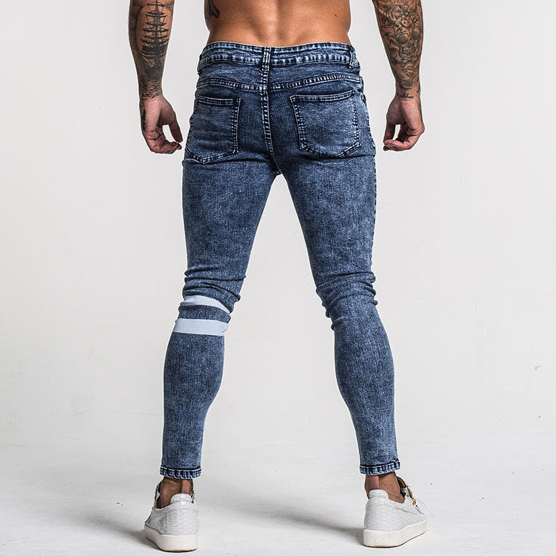 Image 5 - Gingtto Mens Skinny Jeans Slim Fit Ripped Jeans Big and Tall Stretch Blue Jeans for Men Distressed Elastic Waist 32 Leg 30 zm49-in Jeans from Men's Clothing