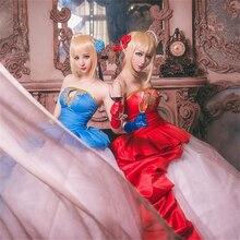 Kader/sıfır tipi ay Saber Nero Cosplay kostüm 10th yıldönümü mavi kırmızı kadın elbise kız parti cadılar bayramı elbiseler anime giyim