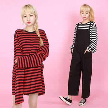 2018 ใหม่สีดำสีขาวสีแดงลายแขนยาวเกาหลีเสื้อผู้หญิงหลวมเสื้อยืดหญิงแฟชั่นสไตล์