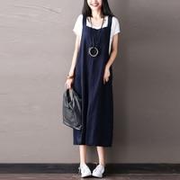 Plus Size ZANZEA 2018 Women Fashion Cotton Linen Sleeveless Loose Rompers Vestido Casual Long Summer Strappy