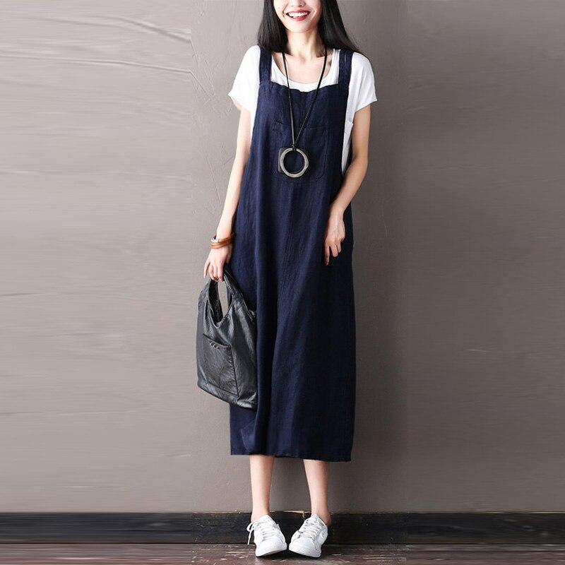 Plus Size ZANZEA 2018 Women Fashion Cotton Linen Sleeveless Loose Rompers Vestido Casual Long Summer Strappy Suspender Dress