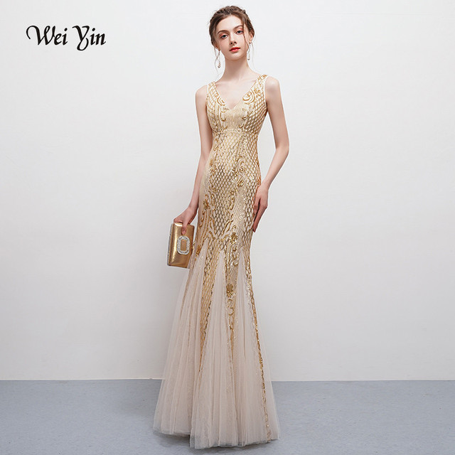 wei yin Robe De Soiree V-Neck Newfashioned Mermaid Long Evening Dresses Backless Luxury Sequin Formal Party Dress Prom Gowns