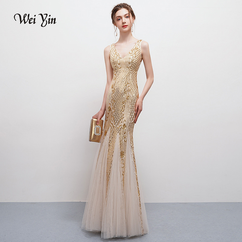 weiyin Robe De Soiree V-Neck 20 Newfashioned Mermaid Long   Evening     Dresses   Backless Luxury Sequin Formal Party   Dress   Prom Gowns