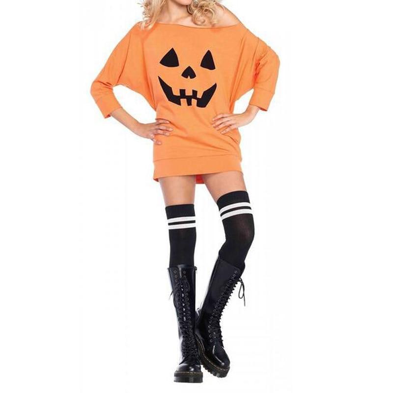 2018 Women Off Shoulder Tops Blusas Halloween Pumpkin Batwing Sleeve Autumn Fashion Club Party Casual Long Tops Shirt Blouse