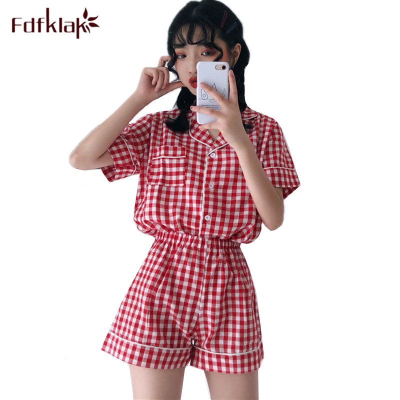 Fdfklak Korean new women   pajamas     set   short sleeve plaid summer pyjamas women summer sleepwear nightwear home suit pijama mujer