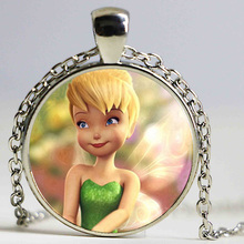 New Fashion Tinker Bell Pendant Cute TinkerBell Necklace Accessories for Child Girls Glass Cabochon Necklace
