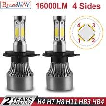 BraveWay 4 стороны света автомобиля светодиодный H7 H8 H11 HB3 HB4 9006 9005 авто лампы H4 светодиодный мини-лампа H7 светодиодный фар автомобиля H7 лампа для автомобиля 12 V