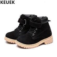 Autumn Winter Children Martin boots Fashion Genuine leather Boys Girls Ankle boots Plush warm Kids Snow boots 041