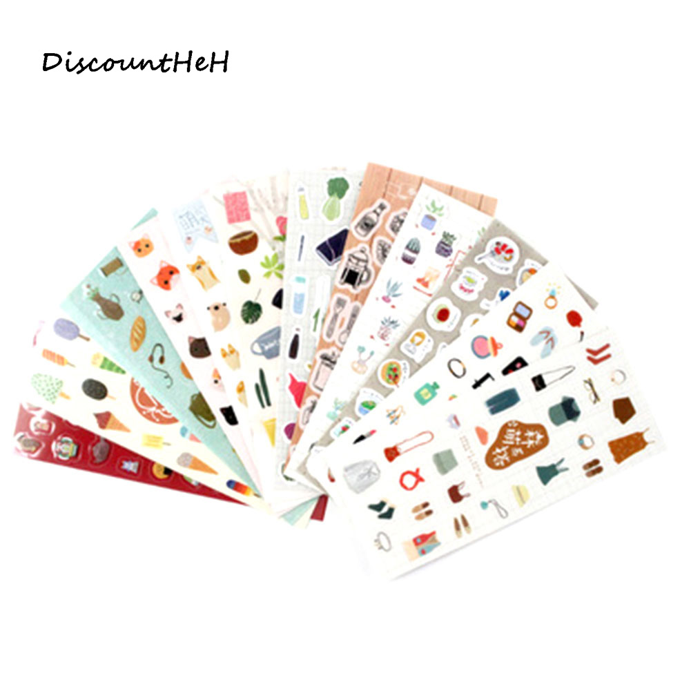 1 Pcs Cute Kawaii Mini Animal Plant Transparent Korean Stickers Papers Flakes Kids Decorative School Stationery Supplies 14pcs creative kawaii lovely cute self made victoria rabbit animal stickers trolley case computer notebook stickers luggage
