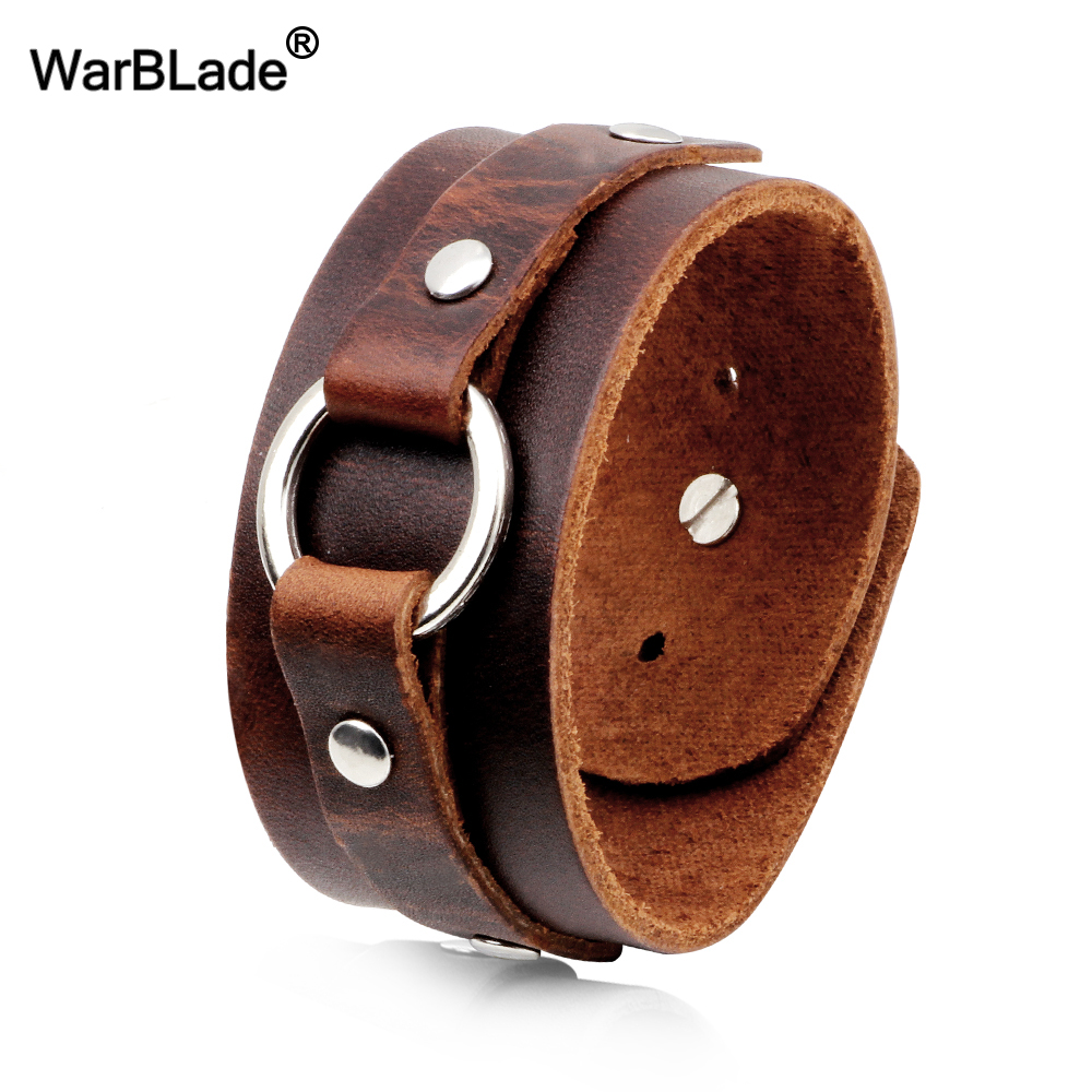 WarBLade 2018 New Fashion Genuine Leather Wide Bracelets Bangles Black Men Wrap Bracelet Punk Cuff Wristband For Women Jewelry